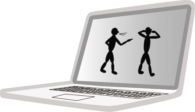 image on screen of computer of two people obviously not communicating well