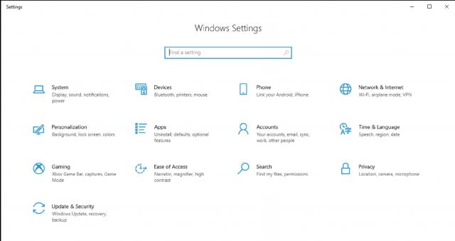 Windows 10 Settings Console